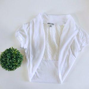 Girls white cropped shawl small juniors size